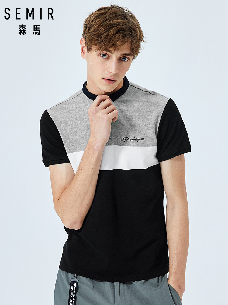 SEMIR   Polo   shirt men 2019 summer new fashion contrast color stitching lapel   polo   shirt young shirt tide