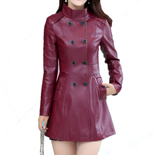 Plus Size 3XL 4XL Leather Jacket Women Genuine Leather Coat Long 2016 Autumn Winter Stand Collar Outerwear Ladies Coats Female