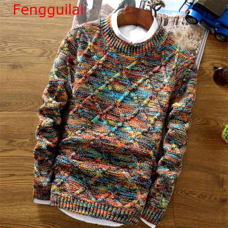 Fengguilai 2020 Fashion Men Sweater Streetwear Casual Slim Fit Male Clothing Long Sleeve Knitted Pullovers Winter Thick O-Neck