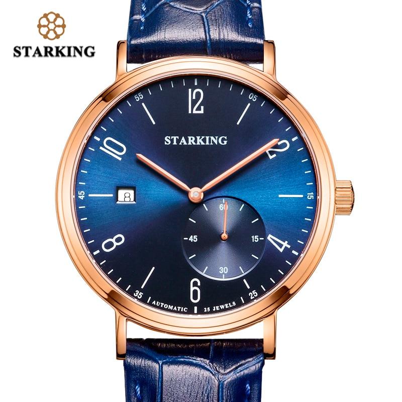 STARKING Πολυτελή Αυτοκίνητο Μηχανική ρολόι Self-Wind Auto Date Skeleton Κομψό μπλε δερμάτινο λουράκι καρπό ρολόι αρσενικό AM0232