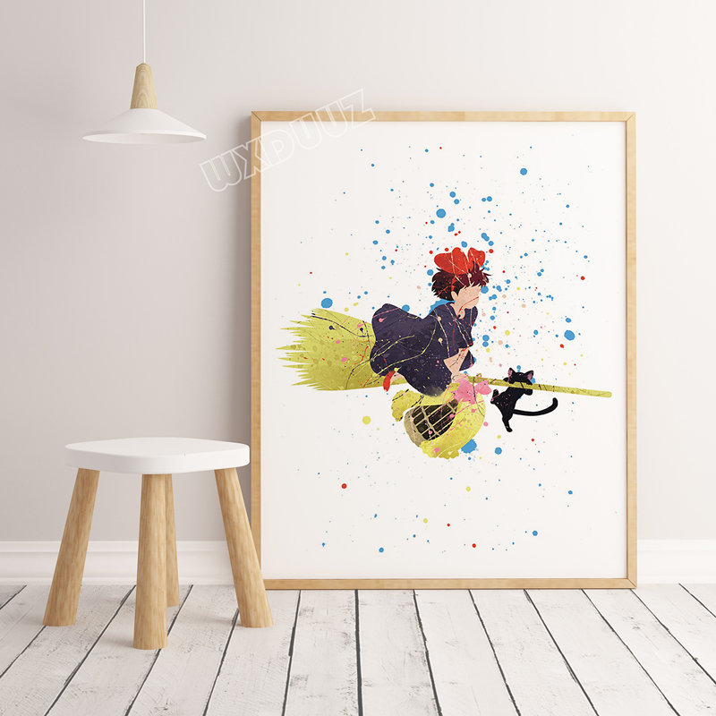 Hayao Miyazaki movie anime boy girl room decoration Art Decor Home Decor Painting posters wall art canvas painting A246 image