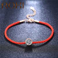 Pulseras de amuleto de cristales austriacos ROXI para mujer fina cuerda de rosca roja Moda pulsera brazaletes joyas Pulseras