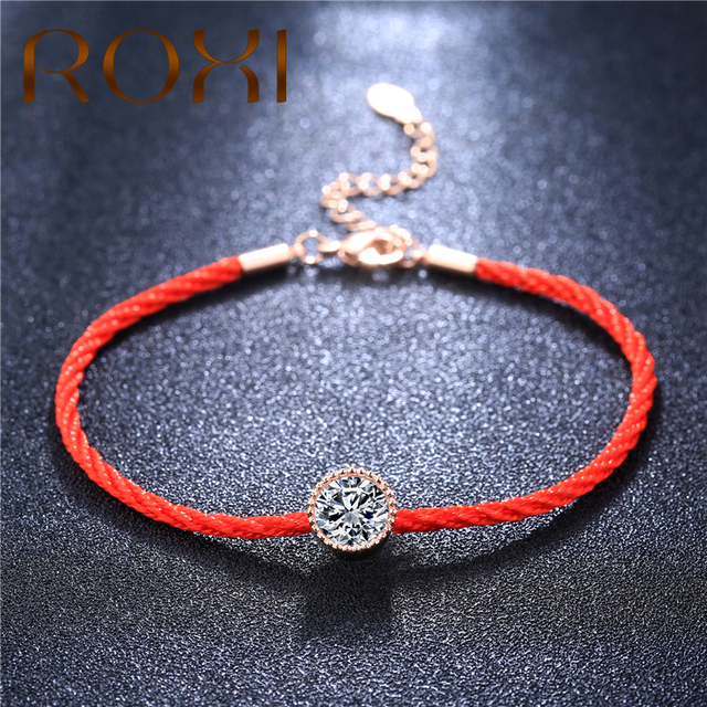 Roxi Austrian Crystals Charm Bracelets For Women Thin Red Thread String Rope Fashion Trendy Bracelet Bangles