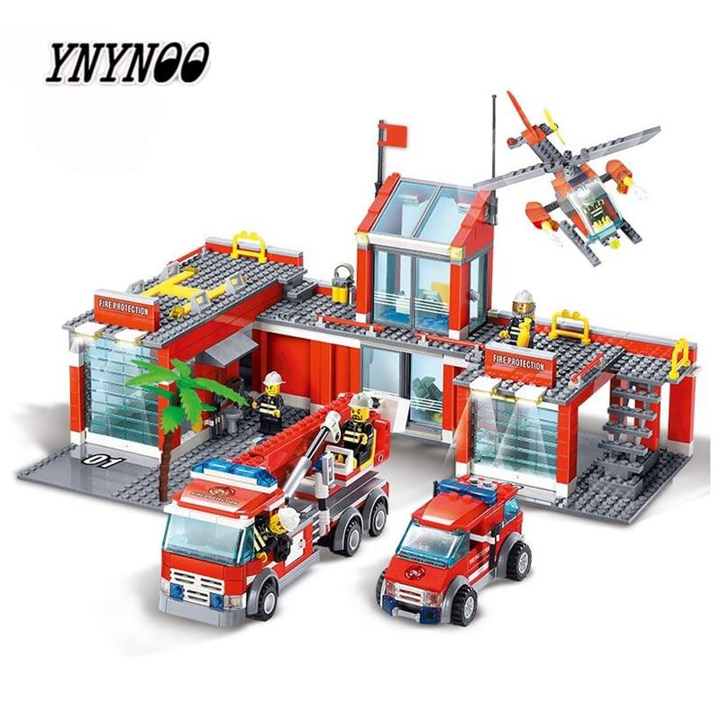 YNYNOO 8051 Building Blocks Fire Station Model Building Blocks 774+pcs Bricks Block ABS Plastic Educational Toys For Children цена
