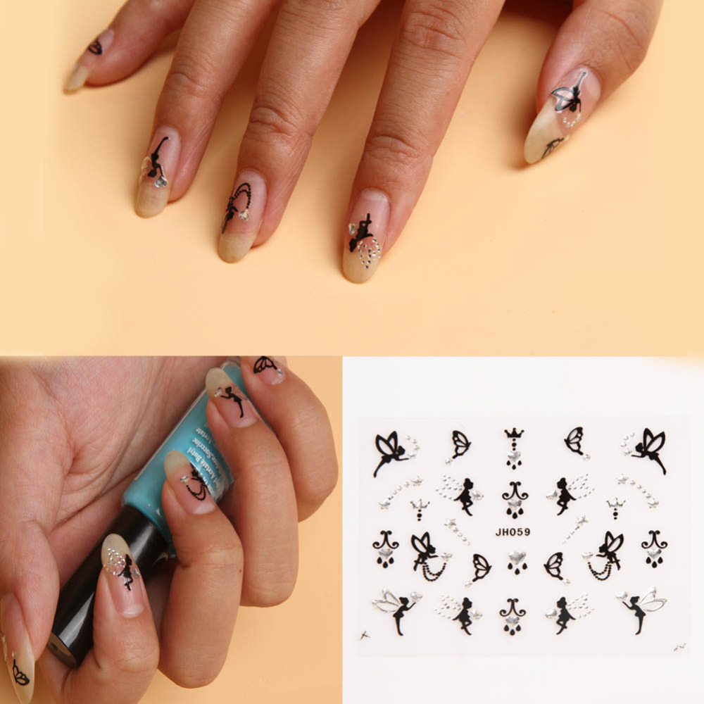 3D Nail Art Sticker Silver Crystal Tinker Bell Fairy Angle Crown ...