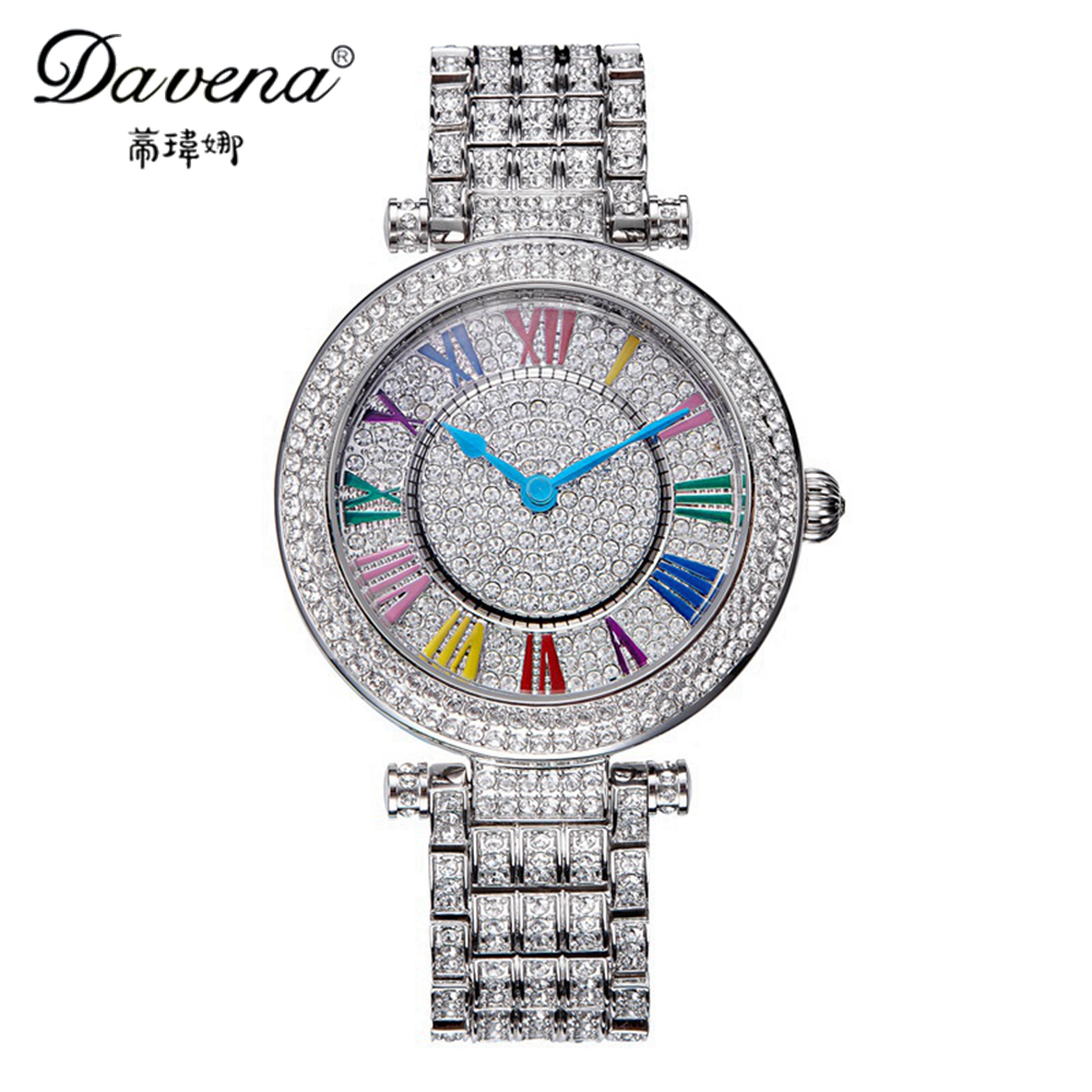 2016 Luxury women dress rhinestone watches fashion casual quartz watch gold silver steel wristwatch top brand Davena 60523 clock luxury top brand guanqin watches fashion women rhinestone vintage wristwatch lady leather quartz watch female dress clock hours