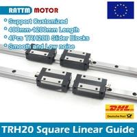2Pcs 20mm TRH20 Square Linear Rail Guide 400mm 500mm 600mm 800mm+4Pcs TRH20B Slider Blocks for CNC machine