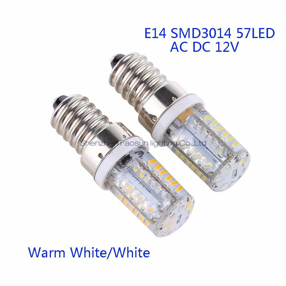 5pcs/lot E14 LED Bulb Lamp High Power 57LEDs SMD3014 AC/DC12V White/Warm White Light replace Halogen Spotlight Chandelier lan mu g4 led bulb lamp high power 3w 5w 6w smd2835 3014 dc ac 12v white warm white light replace halogen spotlight chandelier