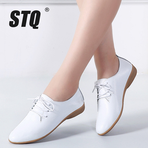 Image 1 - STQ 2020 Autumn Women Oxford Shoes Ballerina Flats Shoes Women Leather Shoes Ladies Lace Up Loafers Moccasins White Shoes 130