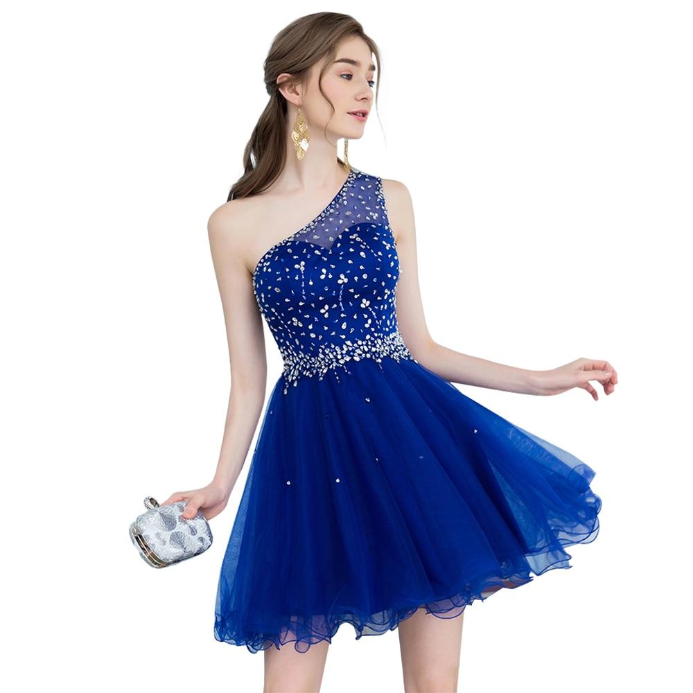 Short One Shoulder Royal Blue Homecoming Dresses 2018 Mini ...