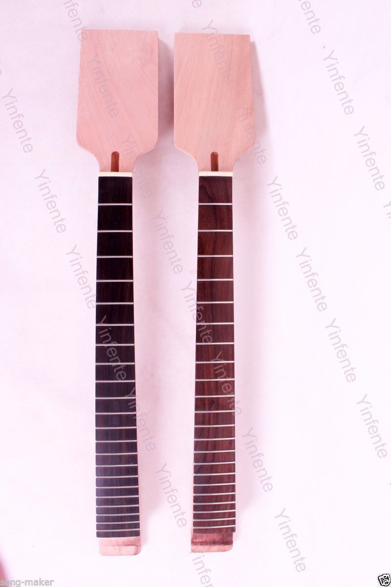 2 pcs electric guitar neck New Unfinished 22 fret 24.75 inch Truss rod 2 holes aluminum alloy guitar truss rod cover bell shape fits for epiphone les paul lp for electric guitar replacement part new