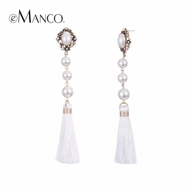 Emanco чешские Белый кисточкой Висячие серьги для женщин моделируются-жемчужные серьги ювелирные изделия