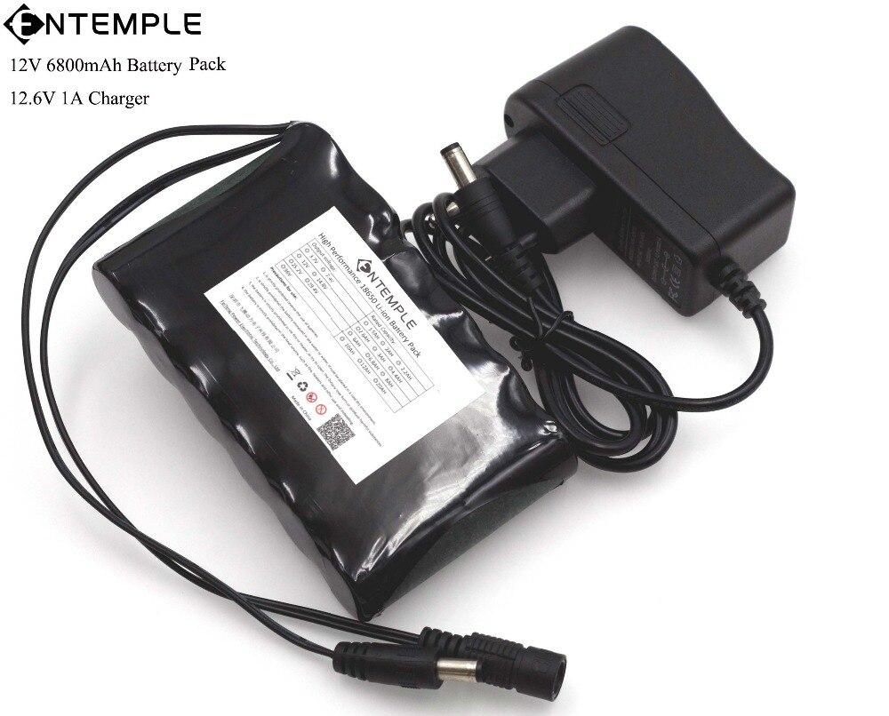ENTEMPLE Portable Super 18650 Rechargeable Li-lon batterie capacité DC 12 V 6800 Mah CCTV Cam Moniteur 12.6 V 1A Chargeur