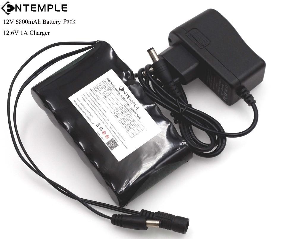 ENTEMPLE Portable Super 18650 Rechargeable Li-lon battery pack capacity DC 12 V 6800 Mah CCTV Cam Monitor 12.6V 1A Charger