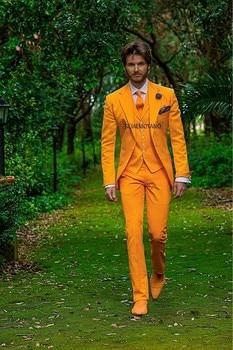 New Arrival Two Button Orange Groom Tuxedos Groomsmen Men's Wedding Prom Suits Custom Made (Jacket+Pants+Vest+Tie) K:431