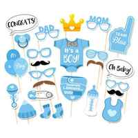 25 Pieces Baby Shower Photo Booth Props Its A Boy Kids Favors Party Decorations Supplies Babyshower Photobooth