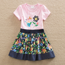 2016 Neat BABY Girl Clothes short Sleeve Girls Dress Kids pretty Dresses A-line children clothing new fashion style SH6241