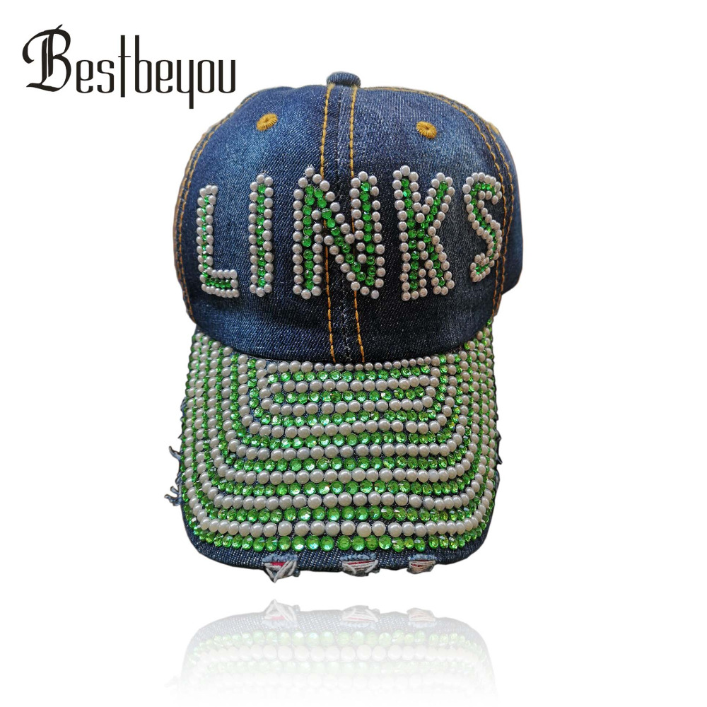 Drop shopping hande made custom baseball The Links Incorporated custom Logo Denim cap Hat