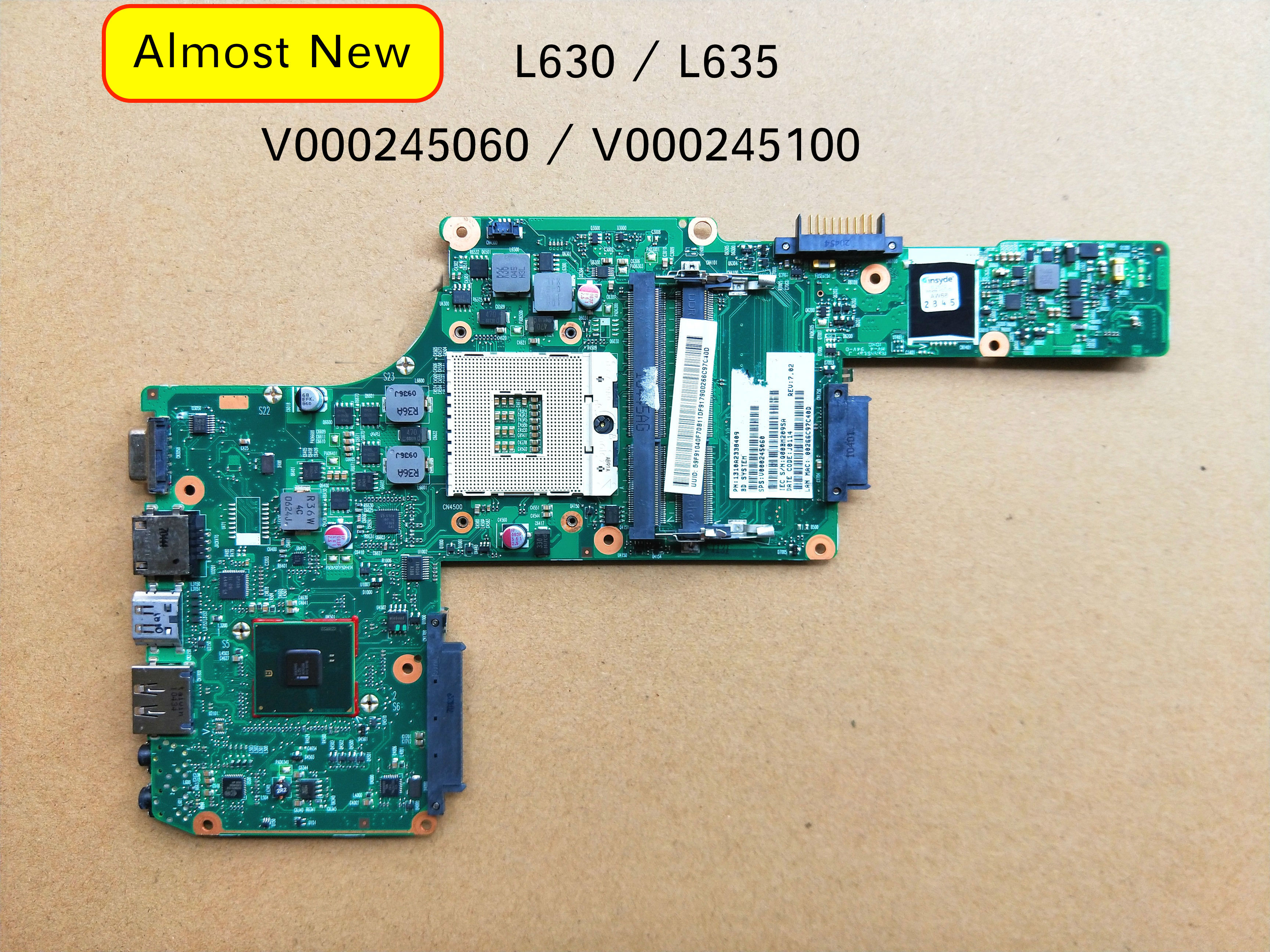 Working Perfectly For TOSHIBA Satellite L630 L635 Laptop Motherboard V000245060 V000245100 1310A2338409 6050A2338402