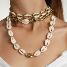 2018 Fashion Hot Shell Necklace Bracelet Set 3 Different Design Gold Color and Nature Shell Charm Handmade Jewelry Necklace Set(China)