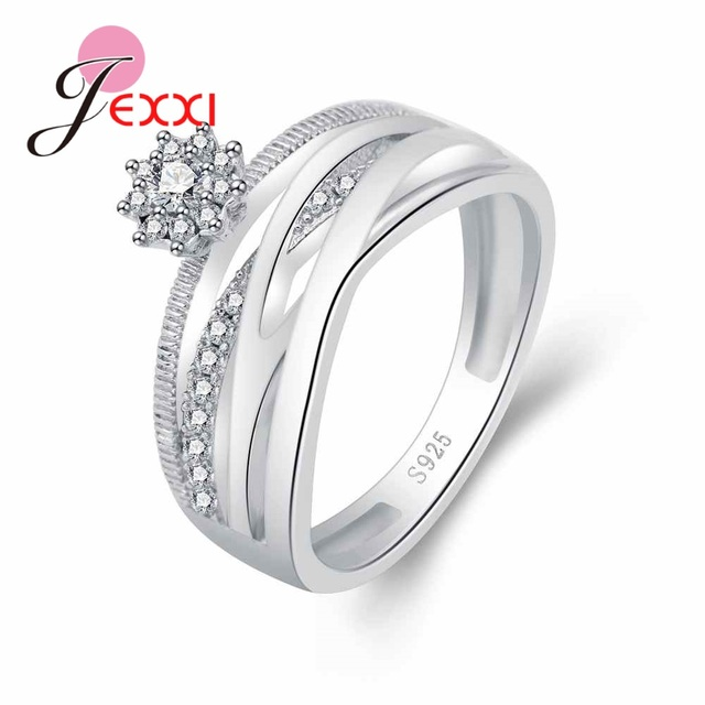 Jemmin High Quality Big Wide 925 Sterling Silver Open Finger Ring Shiny White Zi