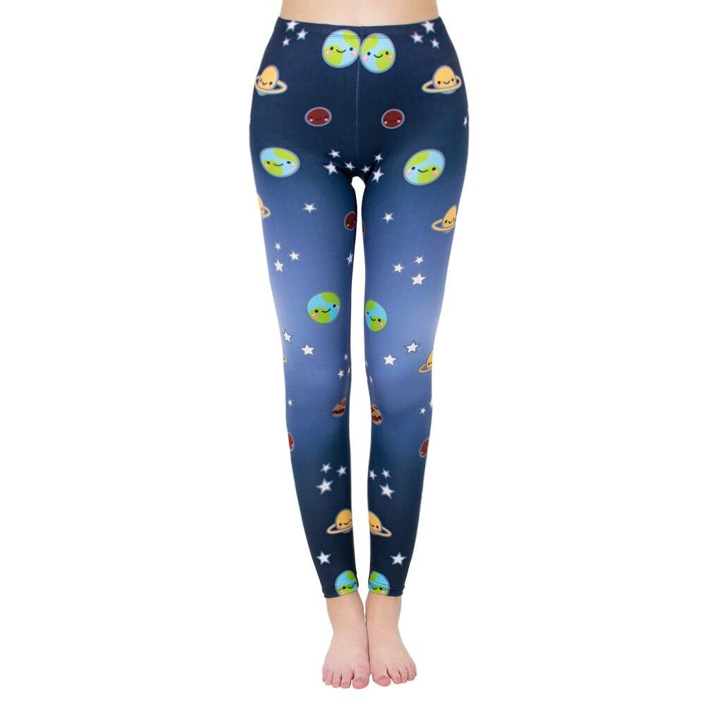 Brand Hot Sale Blue Planet Universe Leggings Mint Print Fitness Legging Slim Fit Bottoms Trouser Pants For Women
