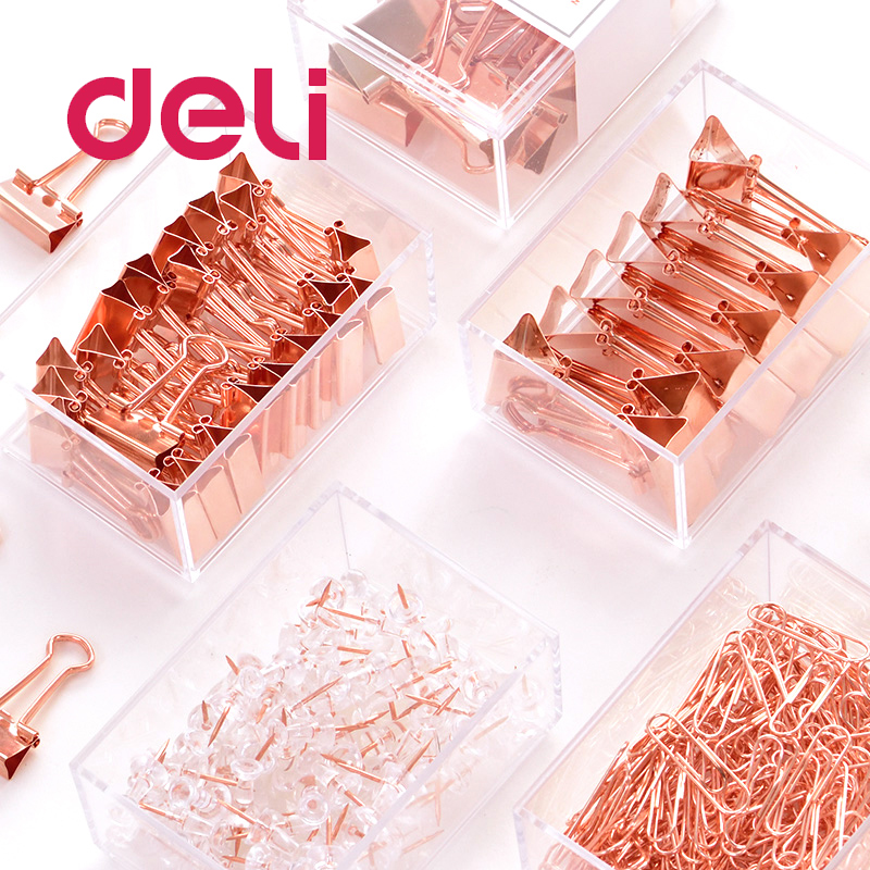Deli 1 Box Rose Gold Ticket Holder Paper Clip Cute Combination Student Office Gadget Metal Multi-Function Document Pushpin