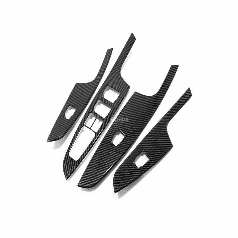 Untuk Hyundai Tucson 2015-2019 ABS Serat Karbon Jendela Pintu Panel Kaca Sandaran Tangan Angkat Beralih Tombol Cover Trim Mobil aksesoris