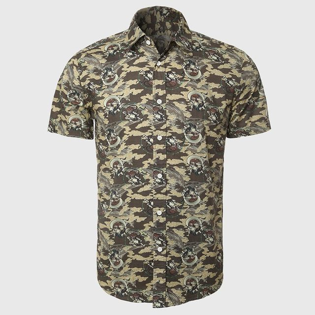 Cotton Fabric For Casual Shirt Men Camouflage Army Short Sleeve Shirts Boys Funny Pattern Wear Military Style Fashion