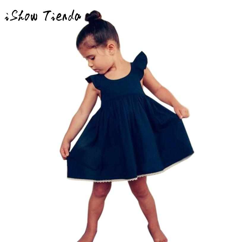 Sunny Baby Girls Princess Dress Bow tie Sleeveless Kids Casual Dress