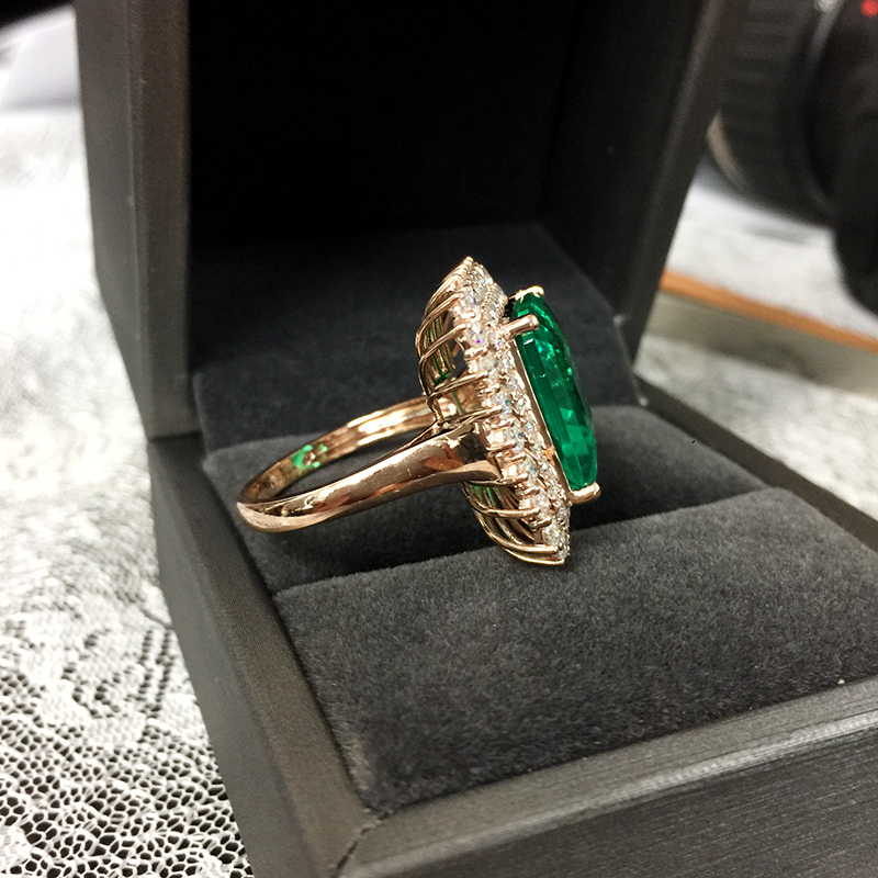Image 4 - Fine Jewelry Real 14K Rose Gold 8ct AAA Colombian Lab Grown Emerald like Natural with Moissanite Gemstone Wedding Rings-in Rings from Jewelry & Accessories