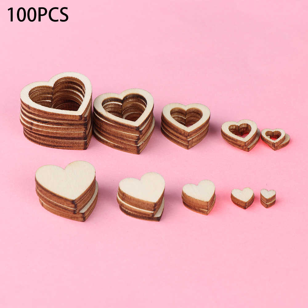 10-30mm 100pcs/pack New Hollow Love Heart Wooden DIY Laser Cut Embellishment Craft Decor Ornaments Wedding