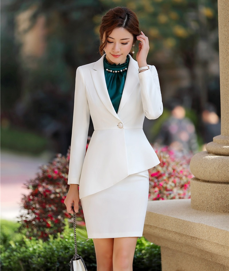 Ladies Professional Formal Women Business Suits With Irregular Jackets Coat And Skirt 2019 Spring Summer Uniform Styles Blazers