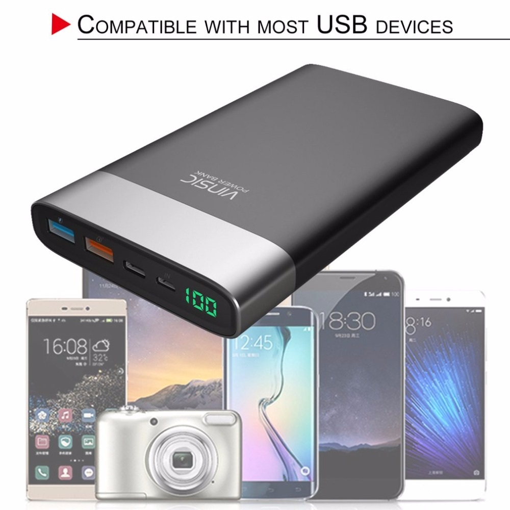 VINSIC Unique 20000MAH Power Bank Dual USB Type-C Battery Charger Power Supply Phone Charger for Smartphones Tablets Powerbank