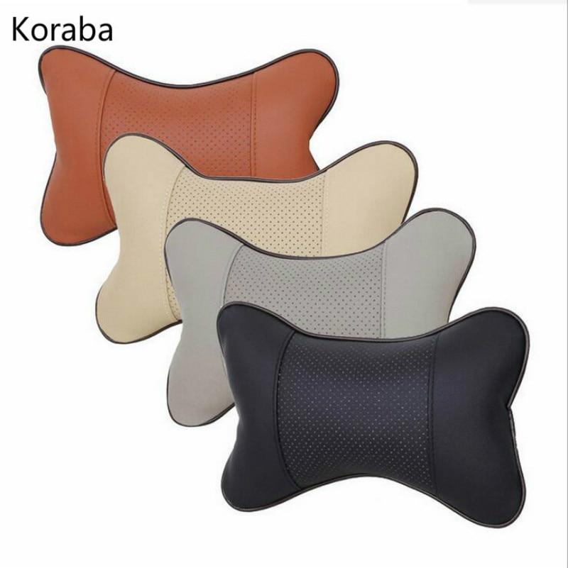 1PC Mini PU Leather Universal Car Headrest Pillow Support Neck Pillow Black/Beige/Gray/Brown for Auto Car Seat zipper pillow 1pc