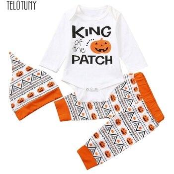 TELOTUNY halloween costume baby Newborn Baby Halloween Letter Pumpkin Romper Jumpsuit+Pants+Hat Set Clothes Z0809