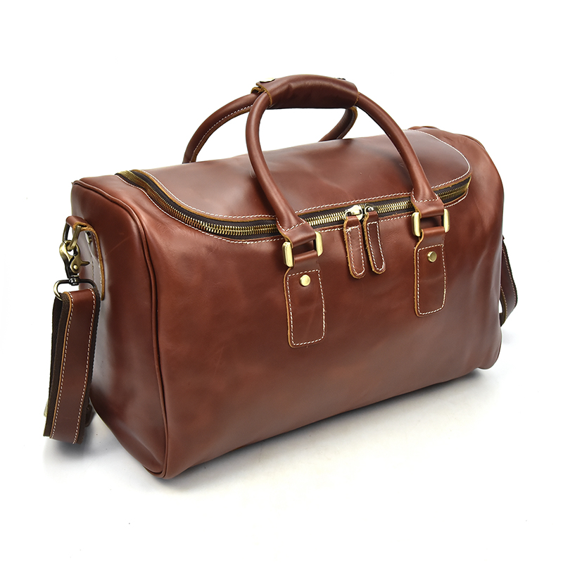 Women's Genuine Leather Travel Bag Red Oil Wax Glossy Real Leather Big Capacity Waterproof Travel Duffel Women Hand Luggage Bag