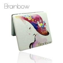 Brainbow ПУ металлические зеркала макияж ноутбук дизайн портативное карманное зеркало красочные складные двойные стороны персонализированное компактное зеркало