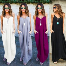 S-2XL women casual leisure strap dress sleeveless maxi dress  pocket loose summer holiday long dress fuzzy double pocket loose dress
