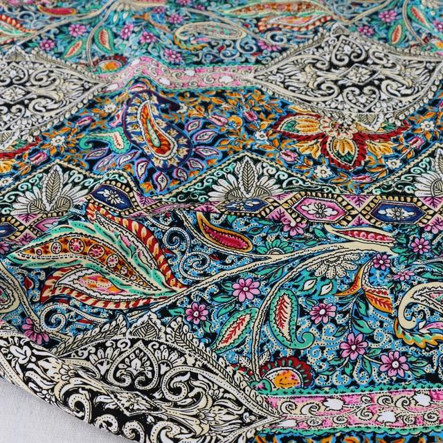 Ethnic Bohemian Paisley Print Cotton Fabric Sewing Rayon Poplin Dress