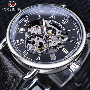 Forsining Silver Case Black Genuine Leather Band Roman Number Waterproof Design Mens Mechanical Watches Top Brand Luxury Clock forsining men watches top brand luxury mechanical skeleton watch black golden 3d literal design roman number black dial clock