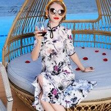 Summer Dress 2019  Real Silk Womens Dresses white Chinese Style Cheongsam Long 100%