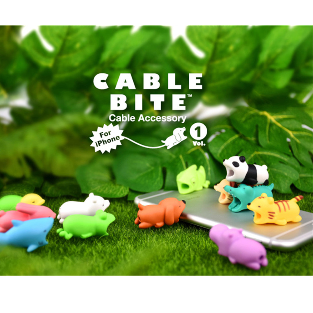 Universal Cable Bite Cartoon Stub Take a Bite Mobile Phone Accessories for iPhone 8 Plus X Charger Port Dust Plug Cable Styling