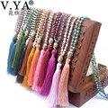 Silver Buddha Boho Friendship Necklace Bohemian Tassel Handmade Crystal Chain Maxi Bijoux Femme Women Collier Jewelry Collares