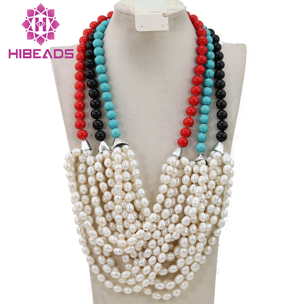 Coloré perles africaines collier bijoux de luxe dame perle collier parti collier 2017 nouveau Designer perle livraison gratuite FP135