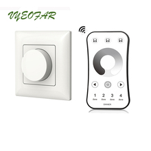 New led Triac Dimmer 220V Wall Mount Manual Knob Panel Dimmer 110V-240V dimming led Lamp Dimmable Knob Switch With 4 zone remote swilet 86 type controllable dimmer switch 110v 220v with 12 keys remote control white led dimmer knob switch with mounting box