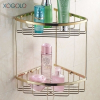 Xogolo Modern Wall Shelf Gold Color Solid Brass Shower Basket Storage Fashion Double Tier Bathroom Corner