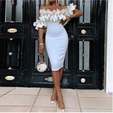 2019 Summer  Ruffle Sexy Party Wrap Bodycon Dress Women  Ladies Casual White Midi Dress недорого