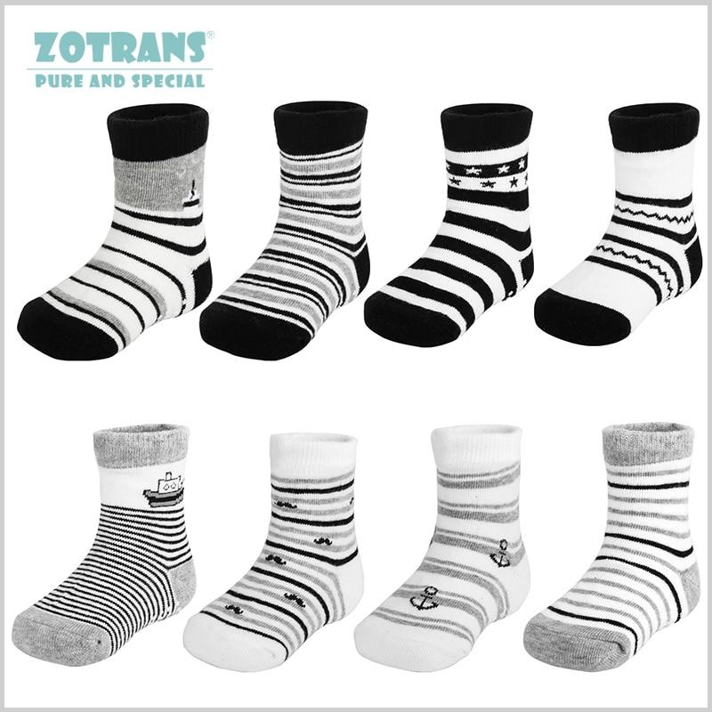 4 Pair/lot Baby Boy Anti Slip Socks Stripes Soft Cotton Toddle Ankle Socks Infant Floor Socks Cartoon Pattern Kids Socks Black