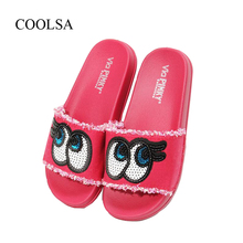 COOLSA Women New Big Bling Eyes Slippers Denim Cartoon Colorful Fashion Beach Home Flip Flops Wholesale